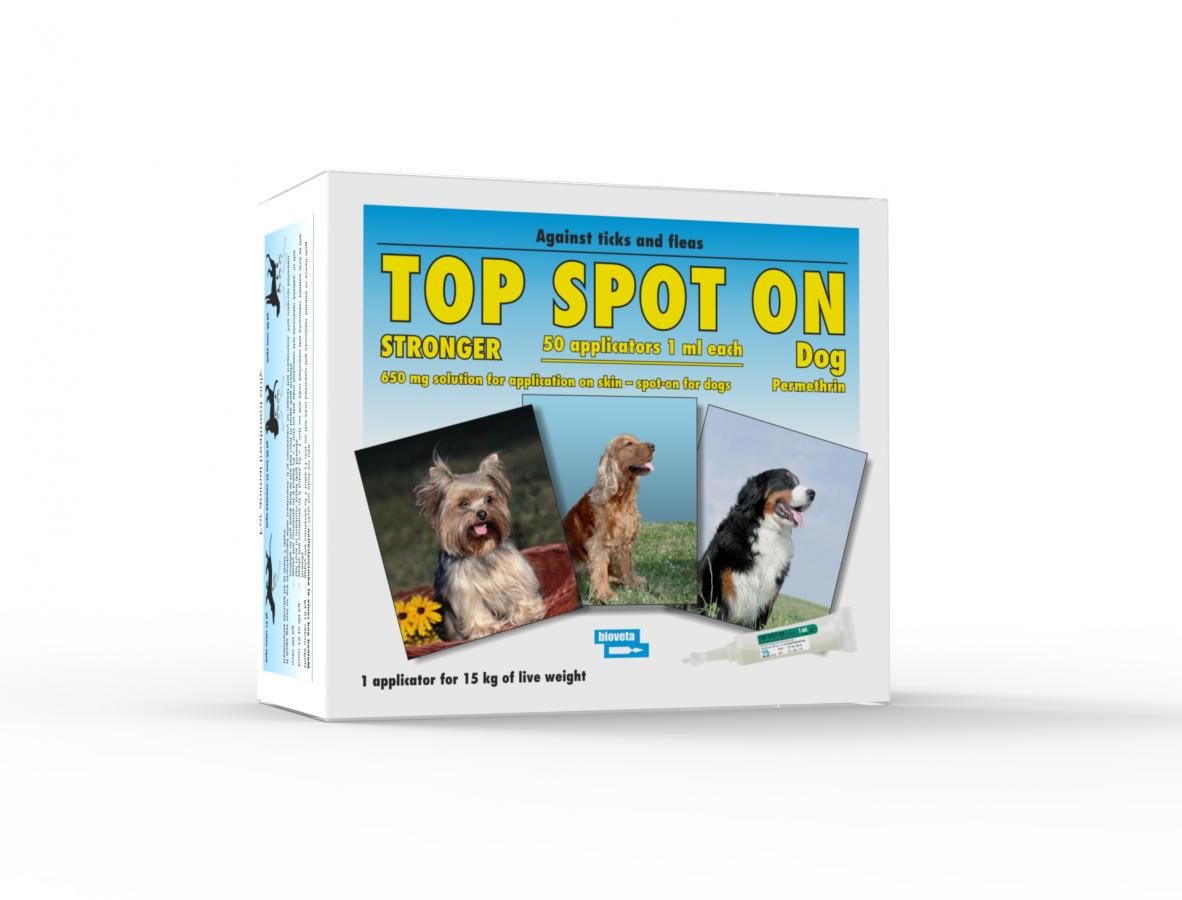 TOP SPOT ON STRONGER 650 mg solution for application on skin – spot-on for dogs