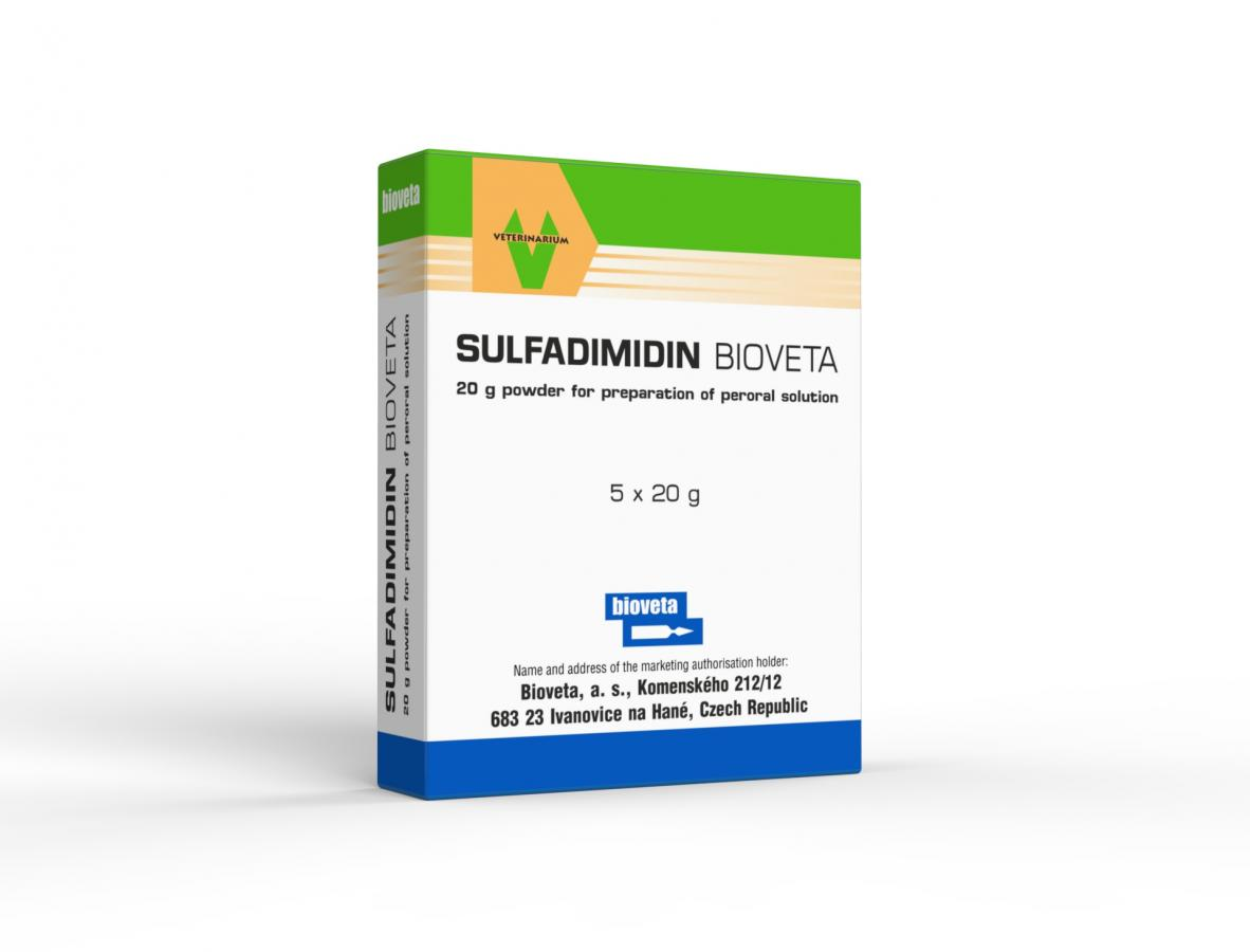 SULFADIMIDIN BIOVETA 20 g powder for preparation of peroral solution